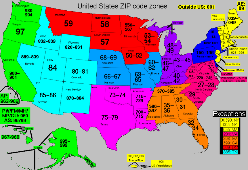 Free ZIP code map, zip code lookup, and zip code list